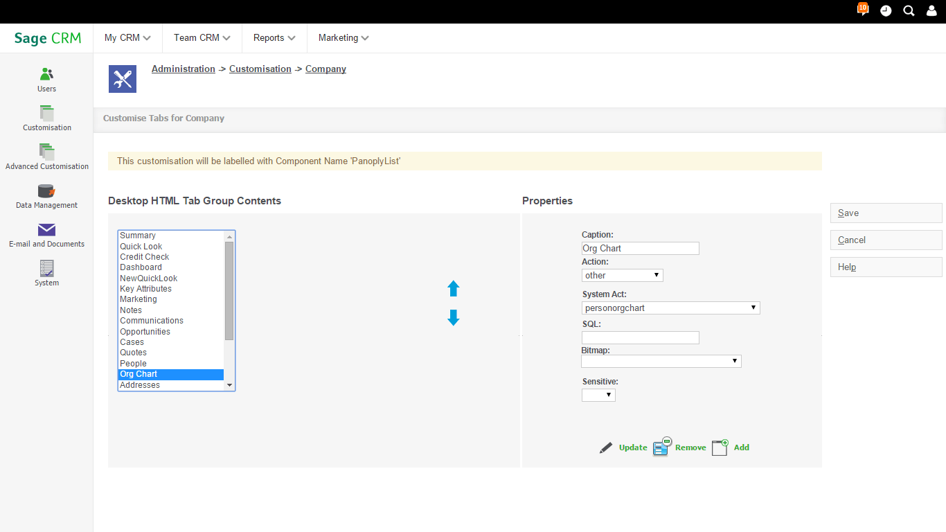 Adding a Simple Person Org Chart within the Company Screen
