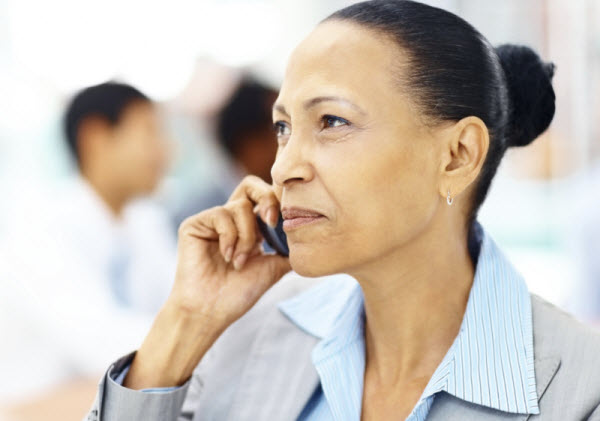 african american business woman on phone