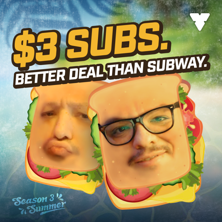 $3 Subs Sale and Season 3 Merch