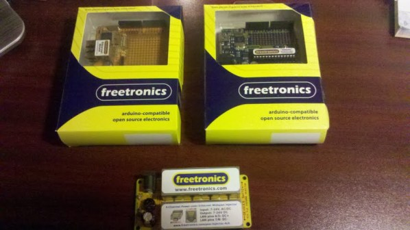 Freetronics Gear - Eleven, Ethernet Shield, and PoE Injector