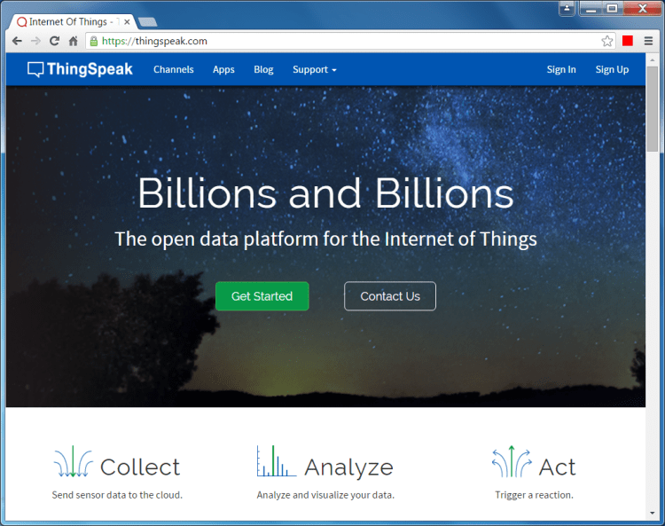 ThingSpeak IoT Homepage