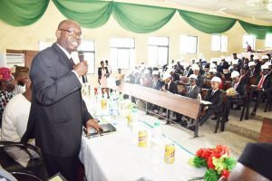 The Dean, College of Engineering (COLENG), Prof. Johnson Adewunmi addressing new Engineering students of the University