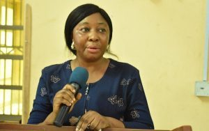 Representative of the Area Manager, ITF, Mrs. Funmi Coker speaking at the Training