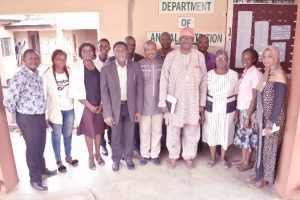 The immediate past Dean of COLANIM, Professor Oluseyi Oluwatosin in a group photograph with staff of the Department of Animal Nutrition.