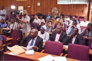 A cross-section of battery of newsmen, Deans, Heads of Departments and Directors at the Press Conference on the presentation of Certificate of Registration of FUNAAB ALPHA to the University
