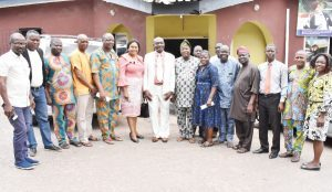 Vice-Chancellor, Professor Kolawole Salako (middle), flanked by the Head of Public Relations Dr. (Mrs.) Linda Onwuka, and the Chairman of NUJ, Ogun State Council, Com. Wole Shokunbi in a group photograph with the Executives and members of NUJ in the state