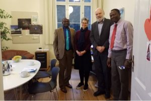 From L-R: The Vice-Chancellor, Professor Kolawole Salako, Dr. (Mrs.) Camilla Rump, Department of Science Education, Copenhagen University, Denmark and her counterpart, Professor John Hansen, Dean of Sciences and Agriculture and Professor Kayode Akinyemi, CEADESE (FUNAAB), in a group photograph after commencing discussion, preparatory to the collaboration.