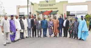 The Pro-Chancellor, OYSCATECH, Prof. Lateef Sanni (8th Right), the  Vice-Chancellor, FUNAAB, Prof. Kolawole Salako (6th Right) and the Rector, OYSCATECH, Prof. Gbemiga Adewale (8th Left) in a group photograph with other members of Council and Principal Officers of OYSCATECH during the commissioning of projects.