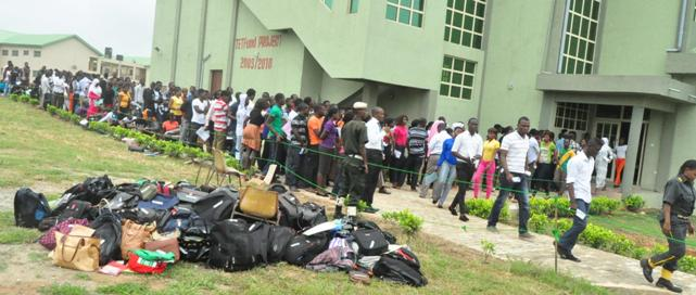 Candidates outside the Mahmoud Yakubu Lecture Theatre