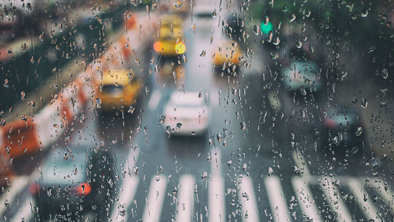 Rainy New York road