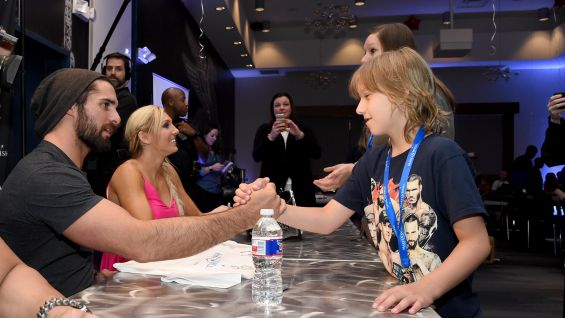 Make A Wish Signing With Roman Reigns Seth Rollins And Charlotte In Dallas Texas Photos WWE