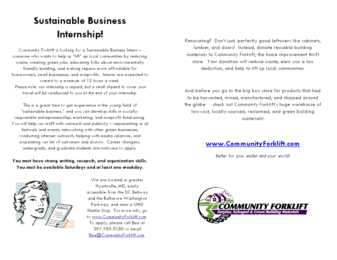 Thrift Store Manager Cover Letter Community Forklift Is Seeking Spring Interns Community Forklift