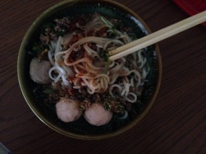 "The yummy noodle dish Chyung (from Myanmar) fixed for me yesterday to help my ""achoo's"""