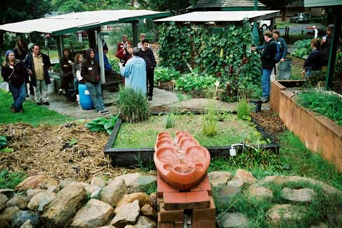 The greywater system at Beelarong Community Farm features a cascade known as a flowform that circulates water to cleanse it.