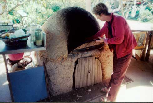The cobb oven at Northey street City Farm cooks for the City farm's outdoor cafe.