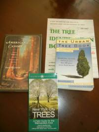 Here are the main books that informed the tree appreciation walks of both July and August 2013. They are New York City Trees: a field guide for the metropolitan area by Edward Sibley Barnard, American Canopy: trees, forests, and the making of a nation by Eric Rutkow, Urban Tree Book: an uncommon field guide for city and town by Arthur Plotnik, and The Tree Identification Book: a new method for the practical identification and recognition of trees by George W. D. Symonds. Not shown are The Pecan Orchard: journey of a sharecropper's daughter by Peggy Vonsherie Allen and Oak: the frame of civilization by William Bryant Logan.