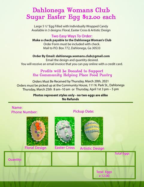 Sugar Easter Egg Order Form