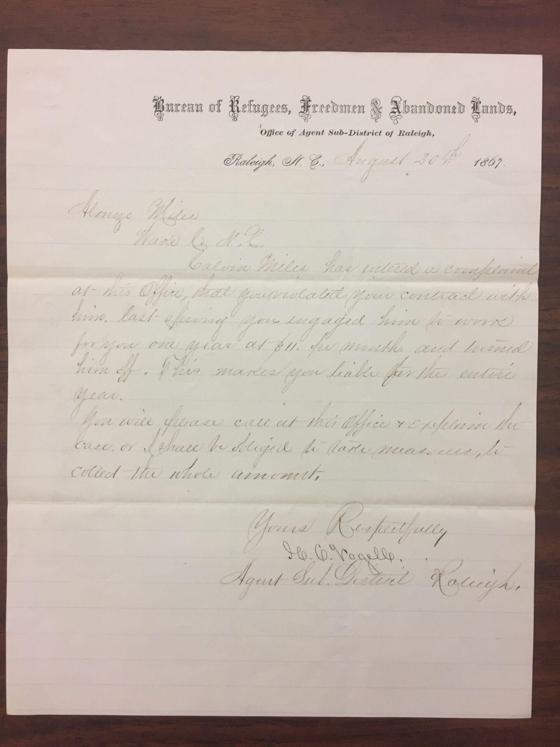 Freedmen's Bureau to Alonzo T. Mial Aug. 30 1867
