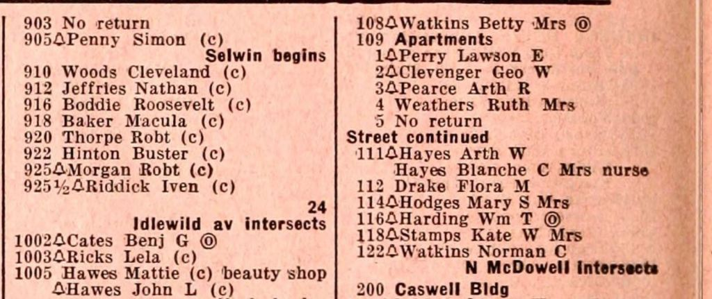 Color image of a typed Raleigh City directory from 1948. Black residents are denoted with a (c) next to their names.