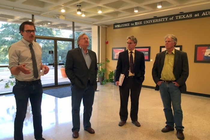 Community members spoke at a press conference Feb. 8 prior to a vote at the Capital Area Metropolitan Planning Organization board meeting. Residents wanted to know why the 183 North project cost increased by $425 million and why the plan excludes a continuous shared-use path.