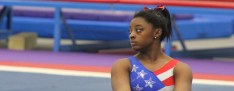 Simone Biles practiced her gymnastics routine at her family's World Champions Centre in Spring on Friday.