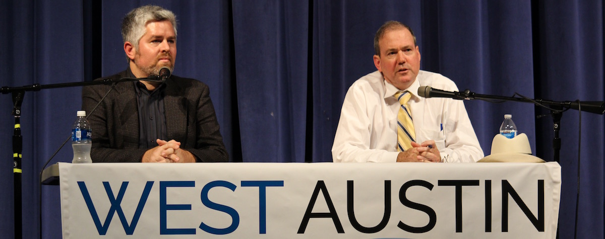 Jimmy Flannigan (left) and Don Zimmerman, Austin City Council District 6 candidates, debate local issues Sept. 21 at Vandegrift High School.
