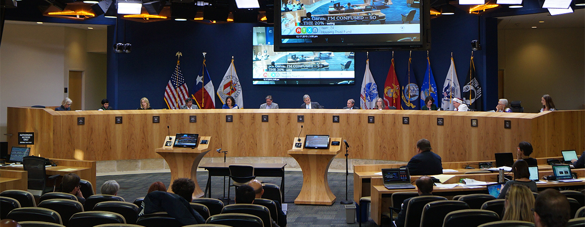 Austin City Council meets at City Hall in Central Austin.