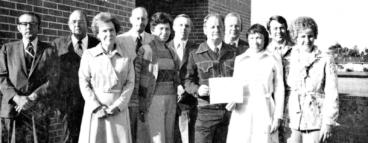 Cy-Fair Federal Credit Union celebrated the grand opening of its Jersey Village office in 1977. The office design was sketched by President Pat Willbern and her husband, Thomas.