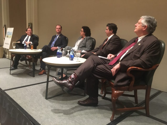 Real Estate Council of Austin hosted a forum with area State House Reps. John Cyrier, R Bastrop (second from left); Celia Israel, D-Austin; Eddie Rodriguez, D-Austin; and Paul Workman, R-Austin, on Tuesday in downtown Austin.