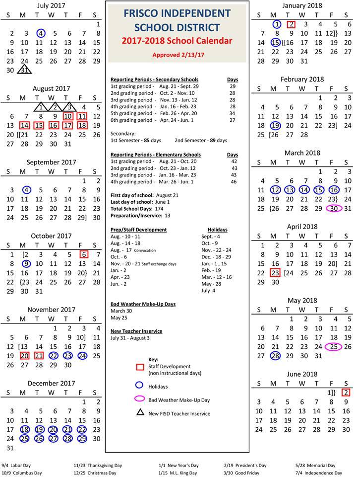 Frisco Isd Approves 2017 18 School Calendar Community