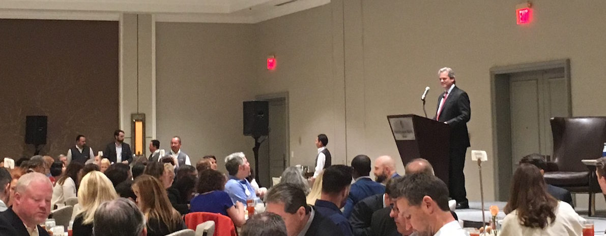 Austin Mayor Steve Adler addresses the Real Estate Council of Austin during Thursday's Mayoral Luncheon.