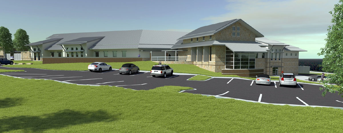 This rendering depicts the proposed Lakeway Police Station's entrance.
