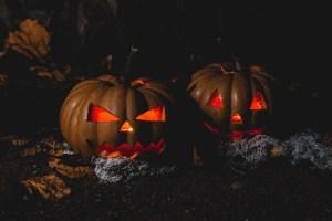 close up creepy pumpkins