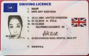 Amy driving licence