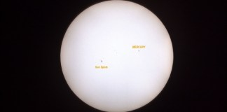 Local astronomy buffs turn out to see Mercury transit the sun
