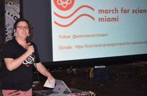Organizer Christina Estela Brown stirs up interest in the March among the many nerds gathered at Gramps Pub in Wynwood.