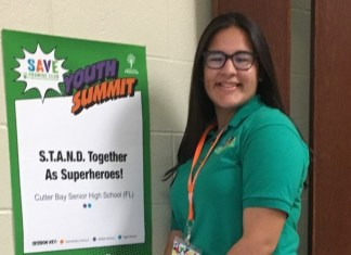 Kristina Alzugaray represents CBHS at SAVE Super Power Youth Summit