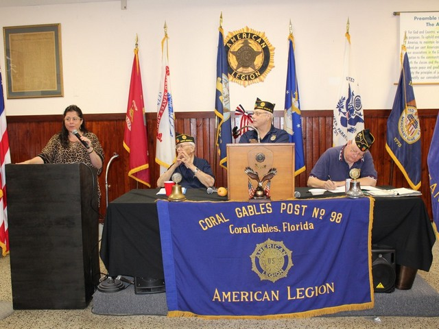 American Legion Post 98 members receive information from MDC