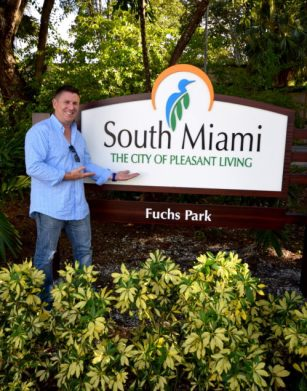 South Miami Commissioner Liebman at Fuch's Park sign