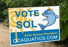 Mascots Sunny, Sol square off To be swim school 'president'