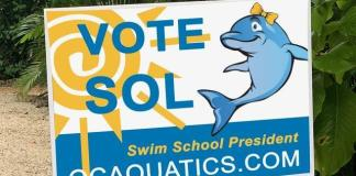 Mascots Sunny, Sol square off To be swim school 'president'