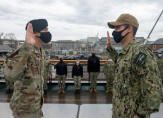 Miami native reenlists in Navy as his son administers oath