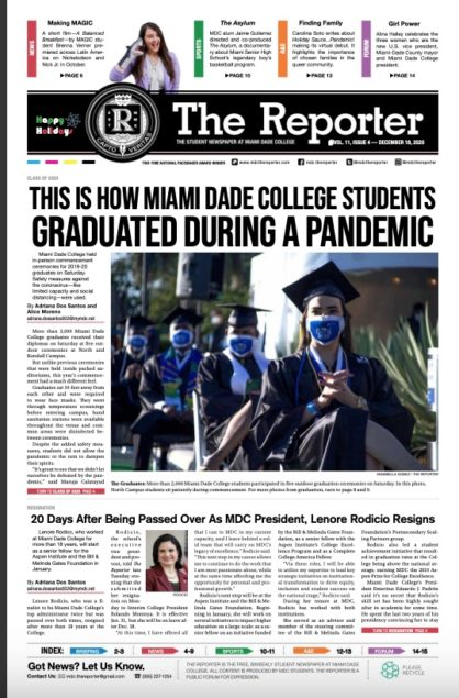 MDC's The Reporter top college student newspaper in state for 10th year in row