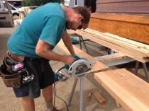 Intern mattt skillyfully cuts garage casing