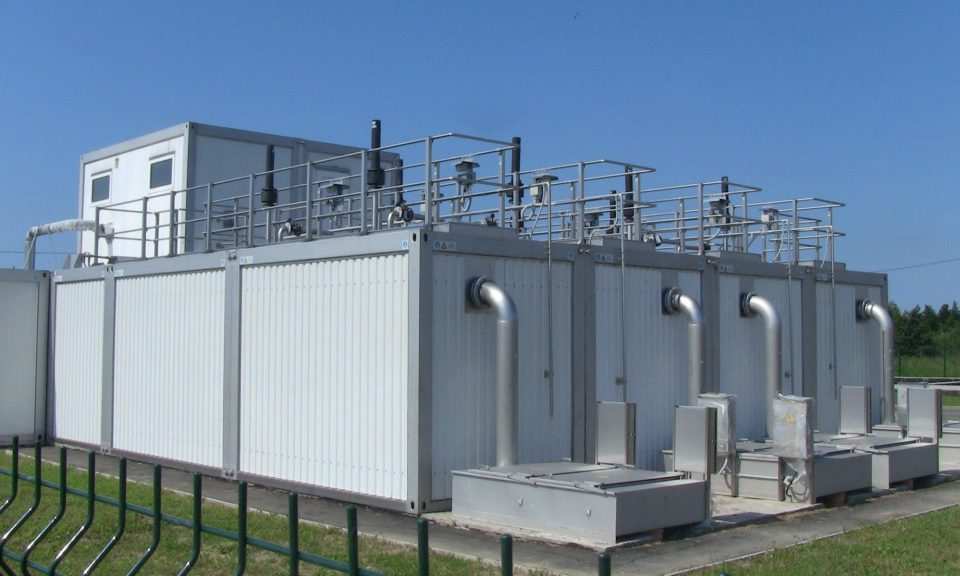 four large biological reactors in an advanced wastewater treatment system