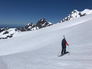 skiing across a slope