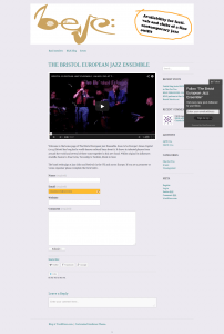 Screenshot of Bristol European Jazz Ensemble website home page