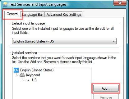 Serviços de texto e idiomas de entrada