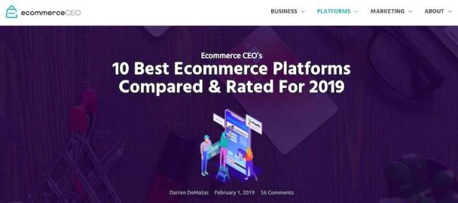 Revisão de plataformas de comércio eletrônicoCEO