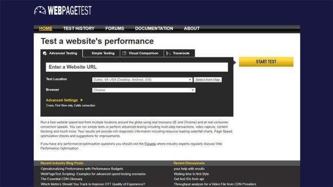 ferramenta de carregamento de site webpagetest